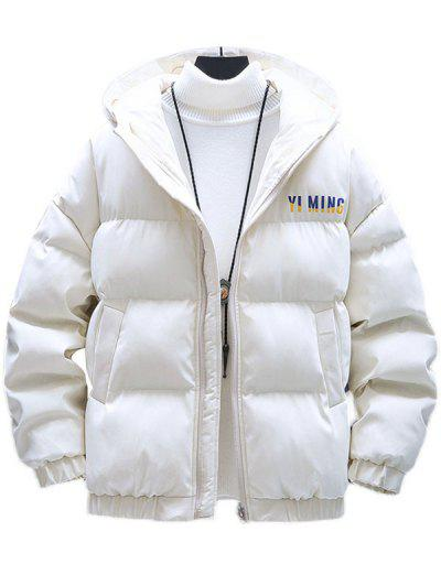 Zip Up Letter Graphic Pockets Padded Coat - White M