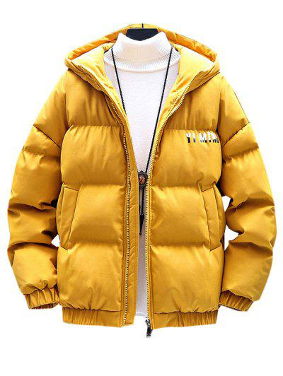Zip Up Letter Graphic Pockets Padded Coat - Yellow L