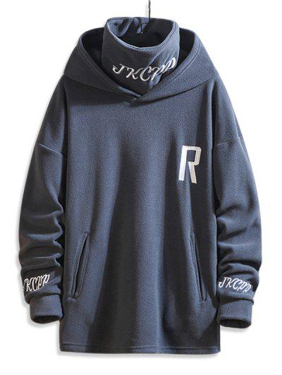 Turtleneck Fleece Letter Embroidered Hoodie - Gray 3xl