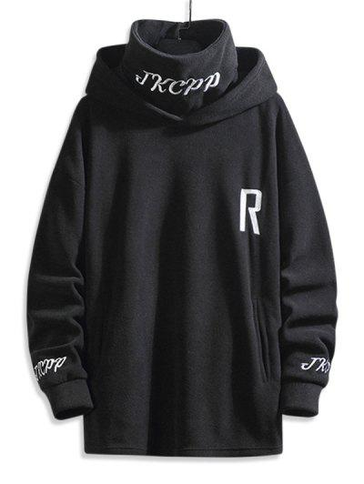 Turtleneck Fleece Letter Embroidered Hoodie - Black 3xl
