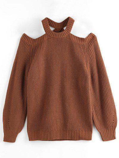 ZAFUL Cold Shoulder Raglan Sleeve Cutout Sweater - Coffee L