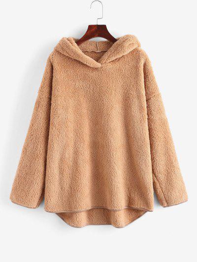 Faux Fur Drop Shoulder Plush Tunic Hoodie - Coffee L