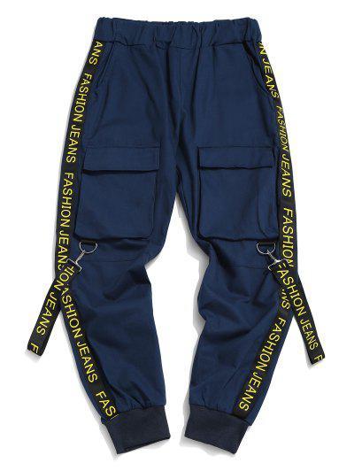 Letter Print Strap Streetwear Cargo Pants - Denim Dark Blue S