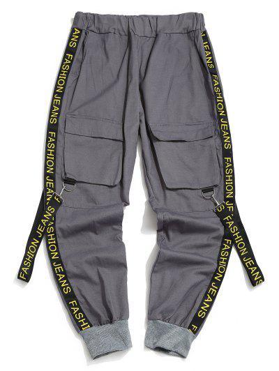 Letter Print Strap Streetwear Cargo Pants - Ash Gray M