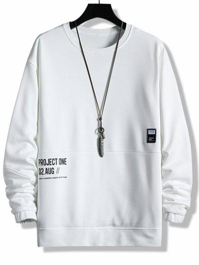 Layered Letter Graphic Patched Sweatshirt - White Xs