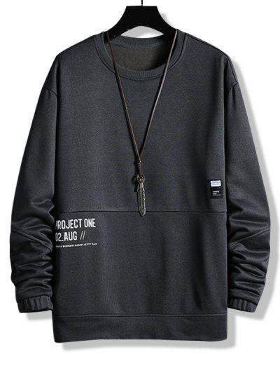 Layered Letter Graphic Patched Sweatshirt - Dark Gray Xs