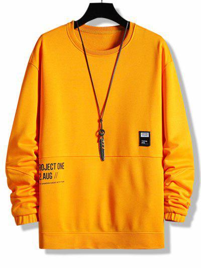 Sweat-shirt Superposé Lettre Graphique Jointif - Orange S