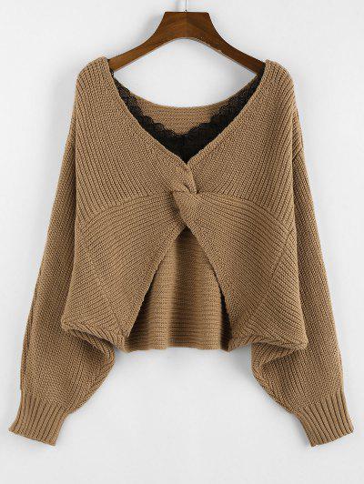 ZAFUL Lace Insert Twisted Batwing Sleeve Sweater - Coffee L