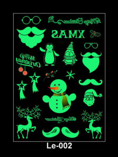 Christmas Snowman Print Luminous Tattoo Stickers - Light Green