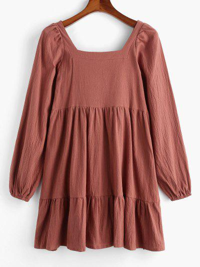 Long Sleeve Tie Cut Out Back Casual Dress - Coffee M