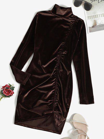 Cinched Velvet Long Sleeve Bodycon Dress - Deep Coffee S