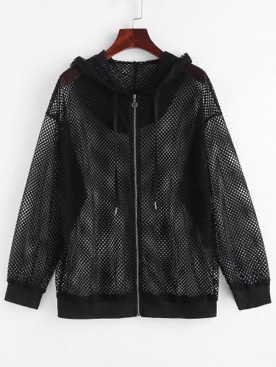 Hooded Zip Up Fishnet Mesh Jacket - Black M