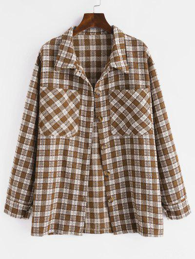 Metallic Thread Plaid Tweed Dual Pocket Shirt Jacket - Deep Coffee L