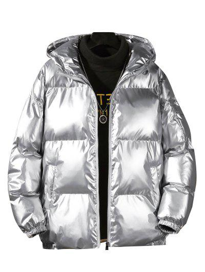 Hooded Shiny Metallic Puffer Quilted Jacket - Silver 4xl
