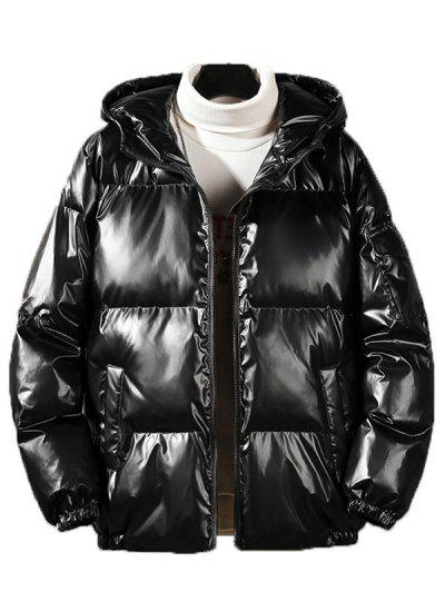 Hooded Shiny Metallic Puffer Quilted Jacket - Black L