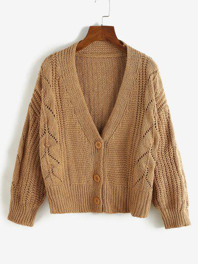 Drop Shoulder Pointelle Knit Plunging Cardigan - Coffee