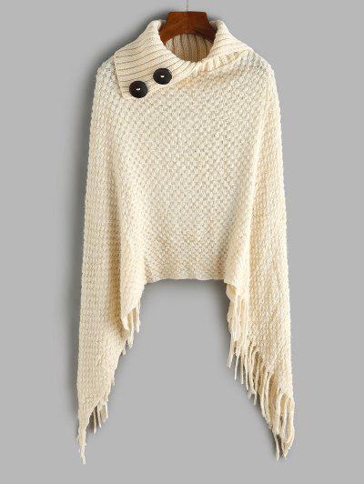 Asymmetrical Fringed Poncho Fuzzy Knit Sweater - Light Coffee