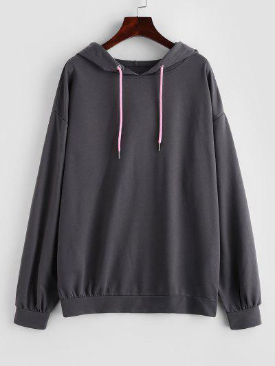Drop Shoulder Plain Oversized Hoodie - Dark Gray S