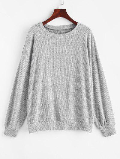 Marled Knit Drop Shoulder Slouchy Sweater - Light Gray M