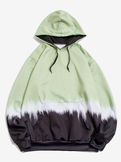 Kangaroo Pocket Dip Dye Print Hoodie - Light Green 2xl