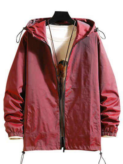 Toggle Drawstring Zip Front Windbreaker Jacket - Red Wine M