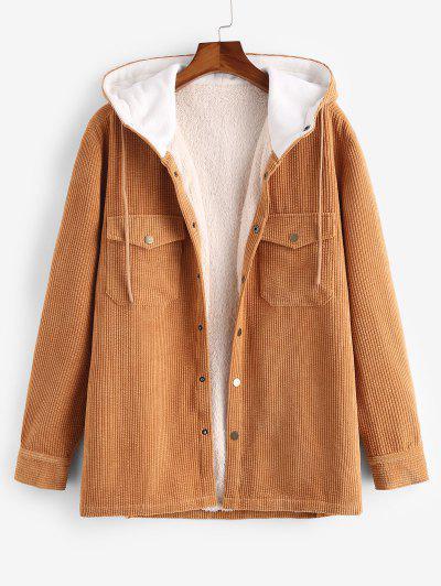 Hooded Double Pockets Fleece Corduroy Jacket - Deep Yellow M