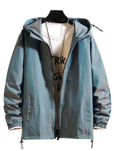 Toggle Drawstring Zip Front Windbreaker Jacket - Blue L