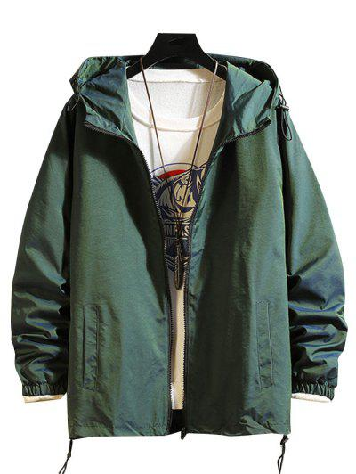 Toggle Drawstring Zip Front Windbreaker Jacket - Green L