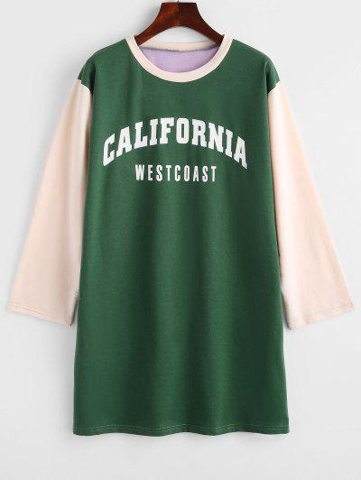 Colorblock CALIFORNIA Graphic Sweatshirt Dress - Deep Green Xl