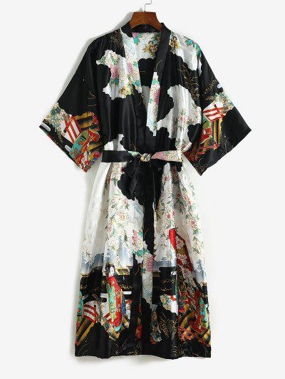 Satin Flower Geisha Print Long Wrap Robe With Belt - Black
