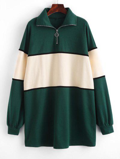 ZAFUL Colorblock Half Zip Sweatshirt Dress - Deep Green S