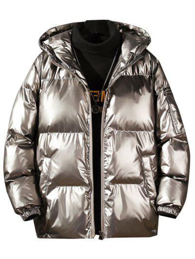 Hooded Shiny Metallic Puffer Quilted Jacket - Platinum Xl