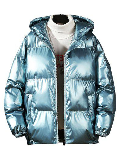 Hooded Shiny Metallic Puffer Quilted Jacket - Greenish Blue Xl