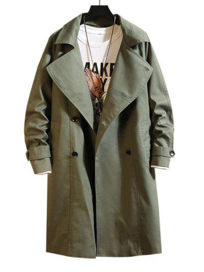 Raglan Sleeve Double Breasted Trench Coat - Army Green M