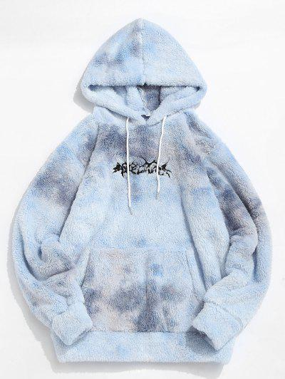 Krawattenfärbender Buchstabe Stickerei Flauschiges Hoodie - Blaugrau M