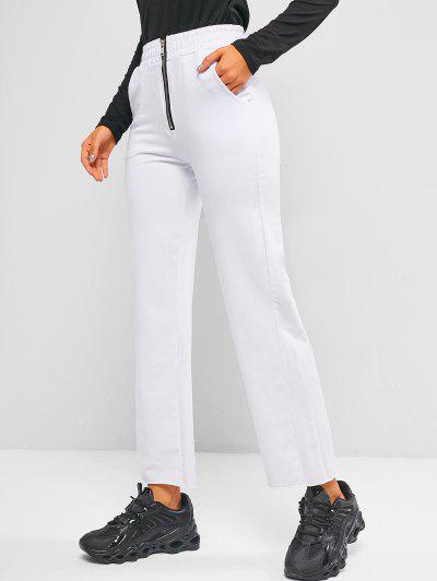 Zip Front Pocket Raw Hem Straight Pants - White S