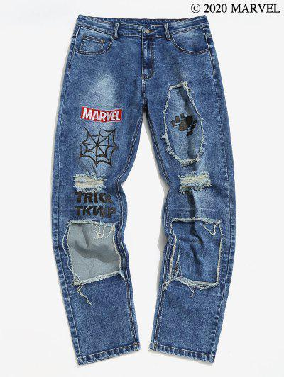 Marvel Spider-Man Embroidery Ripped Patchwork Jeans - Blue 2xl