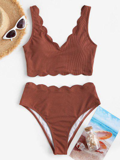 ZAFUL Ribbed Scalloped Trim Tankini Swimwear - Chestnut Xl