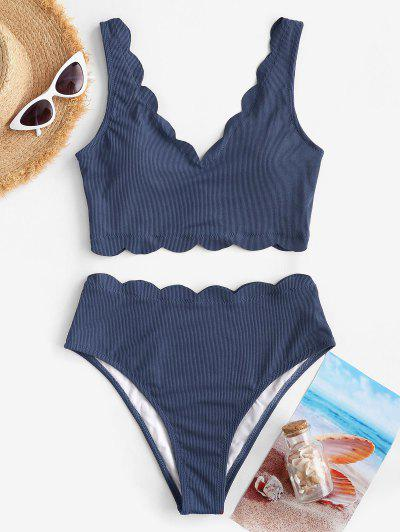 ZAFUL Ribbed Scalloped Trim Tankini Swimwear - Lapis Blue L