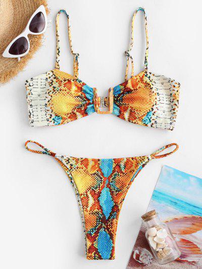 ZAFUL Ribbed Snakeskin U Wired String Bikini Swimwear - Sandy Brown L