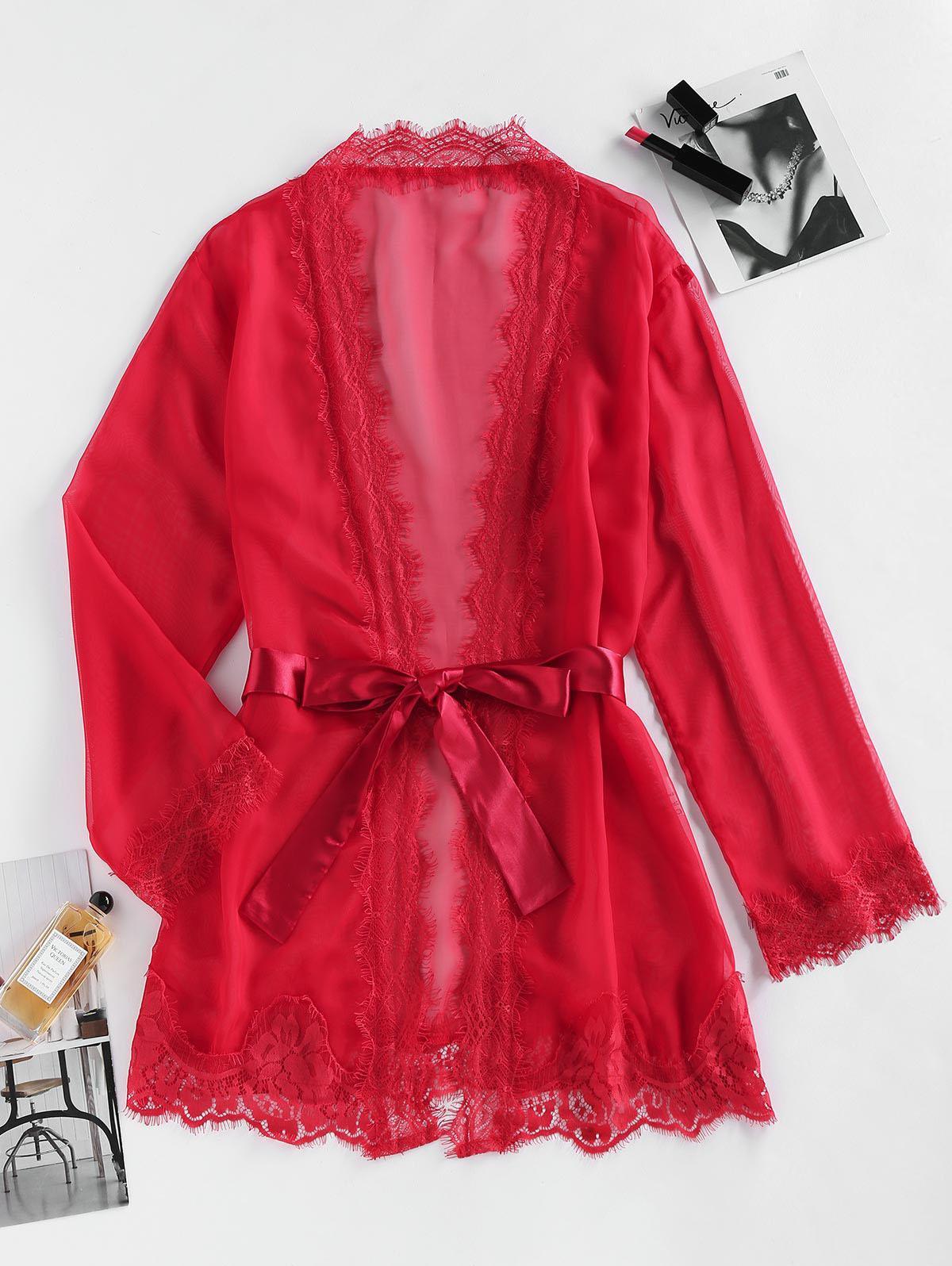 ZAFUL Eyelash Lace Belted Mini Robe
