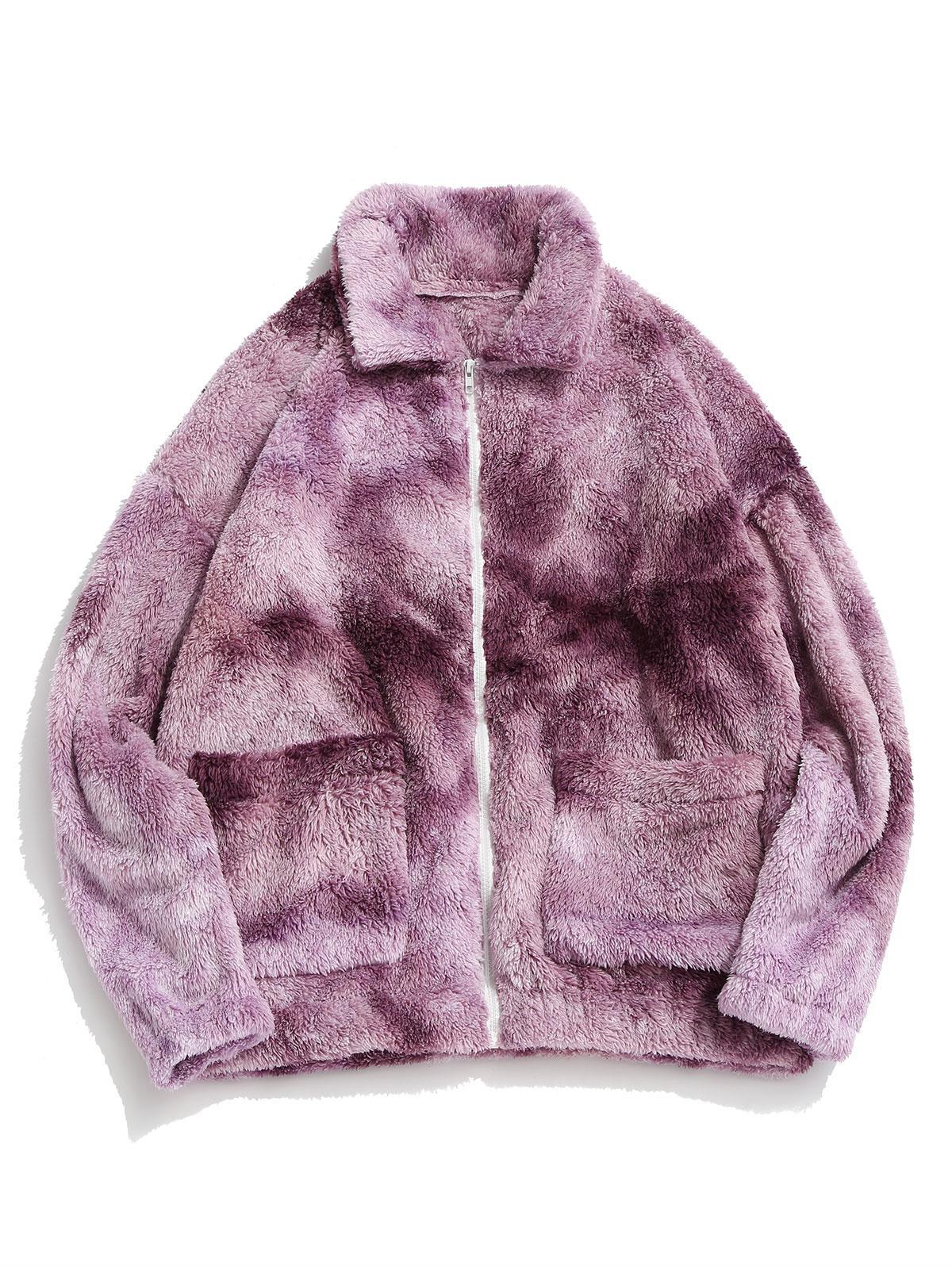 Zaful Tie Dye Fluffy Jacket
