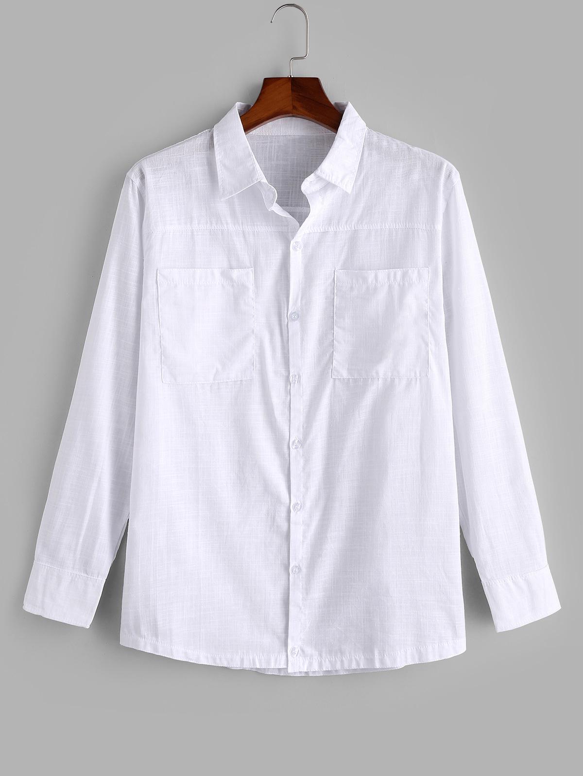 Chemise Boutonnée avec Double Poches - ZAFUL - Modalova