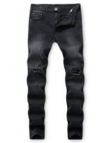 تدمير غسل انفجرت جينز طويل الجيب - أسود 34