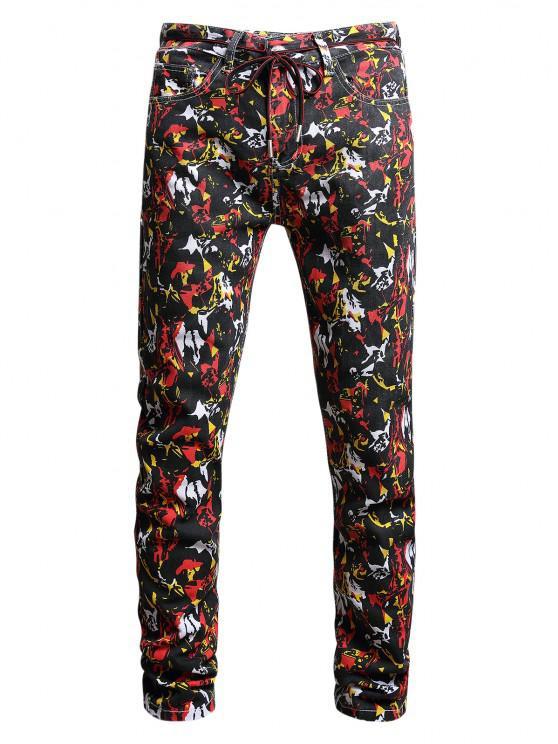 sale Long Colorful Print Tapered Denim Pants - MULTI-A 36