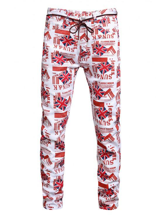 shops Britain Flag Allover Pattern Long Denim Jeans - MULTI-A 34