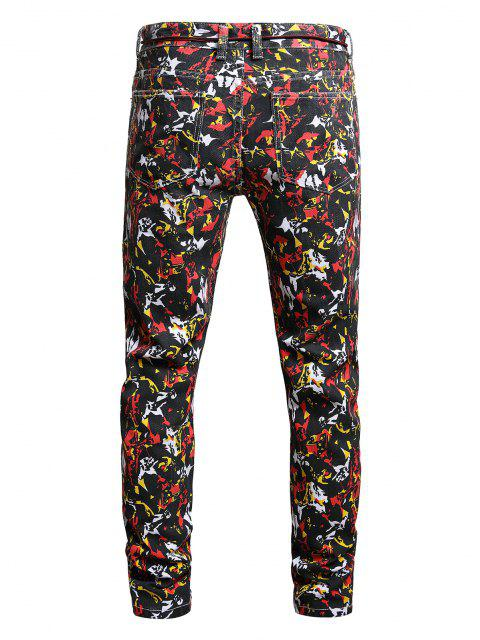 sale Long Colorful Print Tapered Denim Pants - MULTI-A 36 Mobile