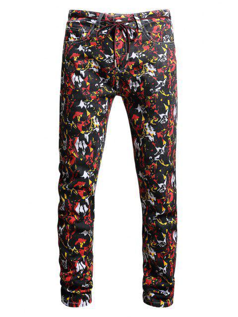 ladies Long Colorful Print Tapered Denim Pants - MULTI-A 34 Mobile