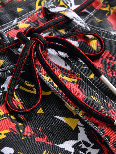 women Long Colorful Print Tapered Denim Pants - MULTI-A 32 Mobile