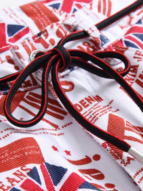 buy Britain Flag Allover Pattern Long Denim Jeans - MULTI-A 36 Mobile